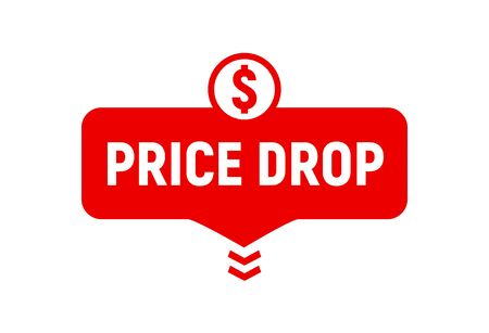 Price drop icon, lower cost reduction. Loss market sale concept, discount sign.