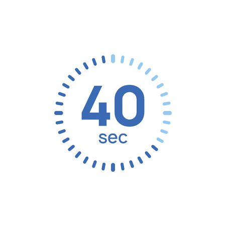 40 second timer clock. 40 sec stopwatch icon countdown time digital stop chronometer. 向量圖像