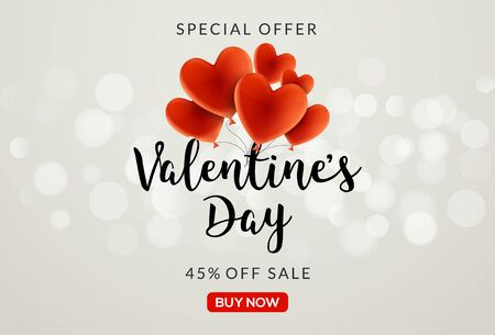 Valentines day sale vector banner background with hearts. Valentine discount holiday poster template for promo sale. Vetores