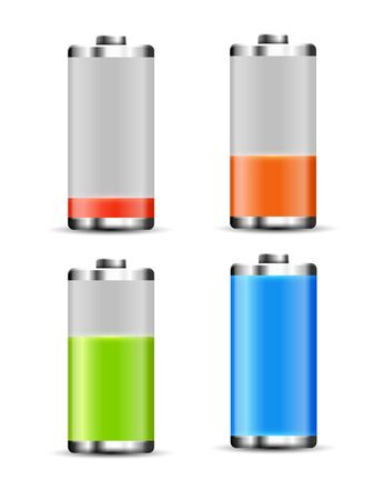 Battery charge design. Full charge energy for mobile phone. Accumulator indicator vector icon of power level Foto de archivo - 138300555