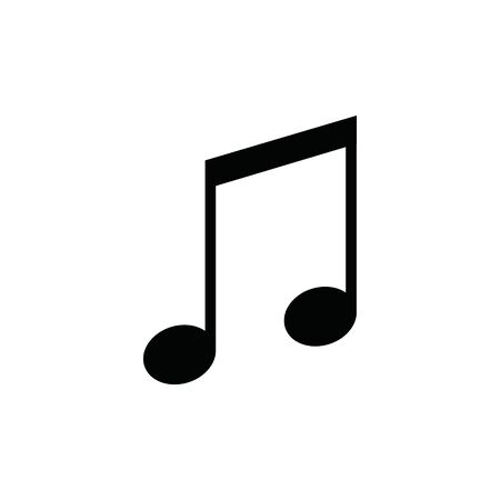 Music note vector sound icon. Flat music note isolated illustration melody Çizim