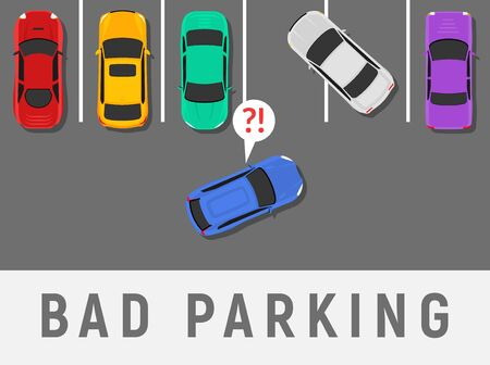 Bad parking car top view. Wrong parking area traffic road rules, flat vector car.