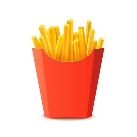 Franse aardappelverpakkingsdoos. Cartoon fastfood bak aardappel geïsoleerde illustratie fastfood. Vector Illustratie