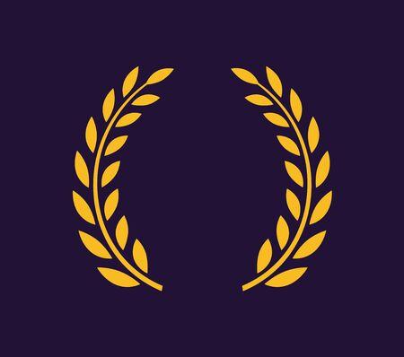 Laurel wreath vector award branch victory icon. Winner laurel wreath vintage leaf emblem.
