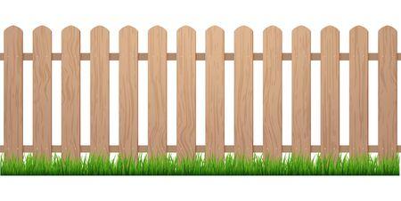 Clôture avec de l'herbe. Fond de piquet en bois isolé ferme jardin barier illustration.