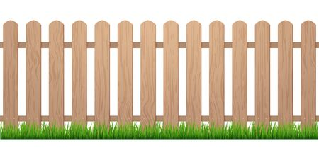 Fence with grass. Wooden picket background isolated farm garden barier illustration.