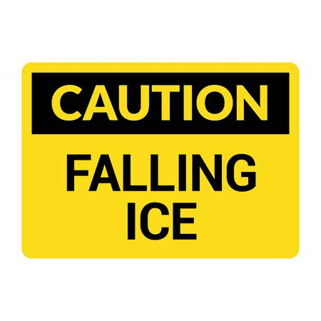 Caution falling ice snow danger icon. Warning fallin ice safety symbol.