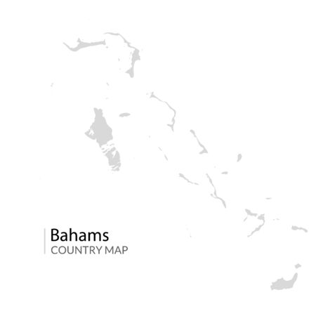 Bahams vector map. Nassau caribbean island country. Bahama map illustration