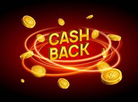 Cash back offer banner design. Promotion refund cashback money sale poster