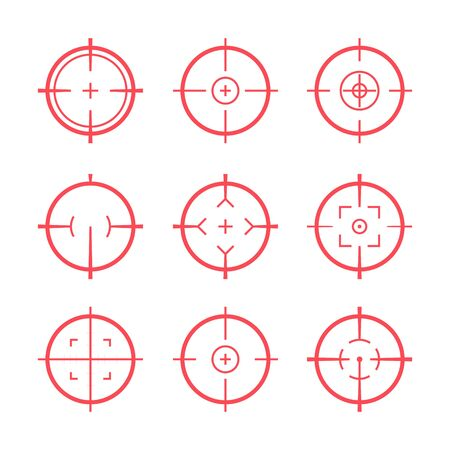 Target aim icons military set. Crosshair target weapon sniper army sight for gun or rifle Vektorové ilustrace