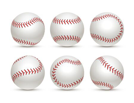 Baseball ball isolated white icon. Softball set vector base ball equipment illustration.