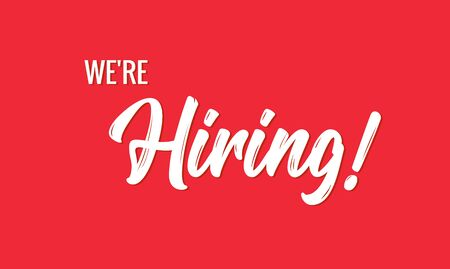 Hiring banner vector background. HR hire now job vacancy recruitment concept poster. Illustration