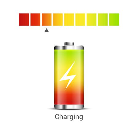 Battery power energy icon. Battery level charge vector indicator icon.