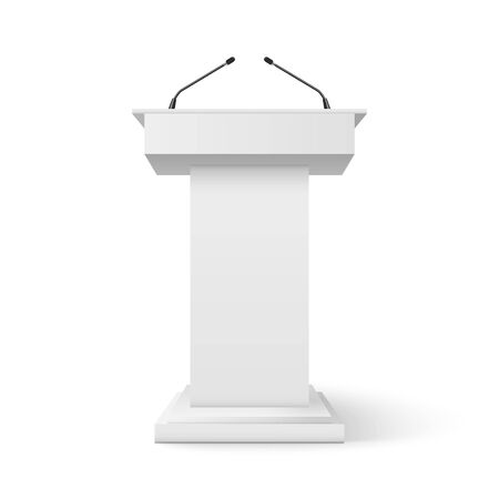 Tribune podium rostrum speech stand. Conference stage with microphone, press or debate speaker isolated orator pulpit. Ilustrace