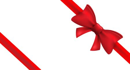 Czerwona wstążka z czerwoną kokardą. Wektor na białym tle ozdoba łuk na prezent świąteczny. Element prezentu na projekt karty.