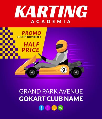 Go kart race background poster. Karting race car cartoon helmet driver sport backgorund