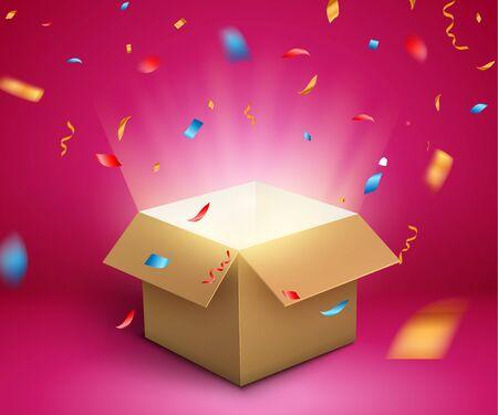 Konfetti-Explosion im Geschenkkarton. Magische offene Überraschungsgeschenkbox-Paketdekoration. Vektorgrafik