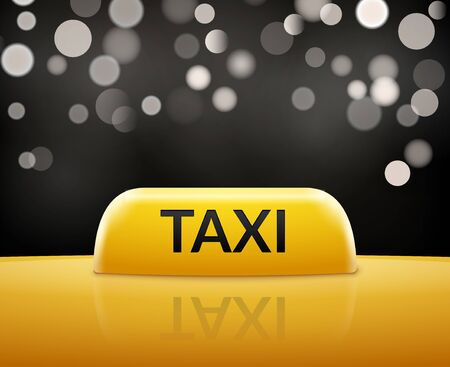 Taxi car sign on bokeh background. Taxi cab sign and roof car. Vector transportation service illustration.