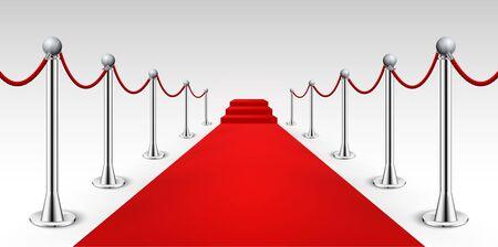 Red carpet celebrity background entrance. Hollywood fame event vip red carpet Vector Illustration