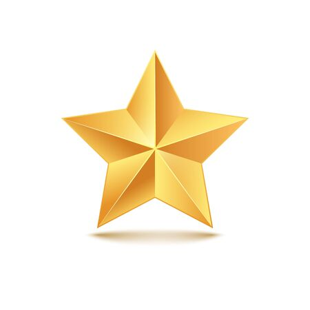 Golden star vector 3d illustration. Gold medal star isolated decoration icon