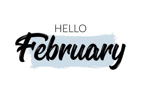 Hello february vector background happy design typography word