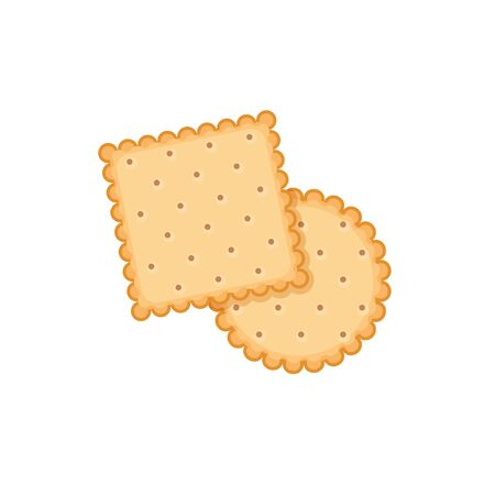 Biscuit cookie vector cartoon illustration. Vector biscuit cookie top view