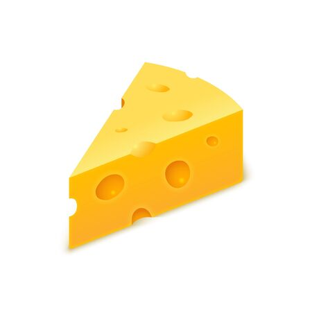 Vector cheese cheddar piece. Slice block of swiss cheese. Triangle realistic isolated yellow icon Ilustração