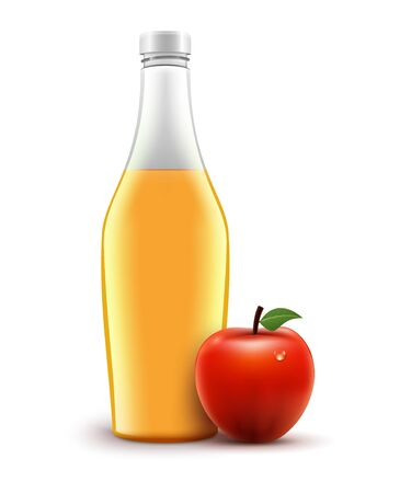 Bottle of red juice apple isolated. Vector healthy liquid food. Apple red juice beverage in glass Ilustracja