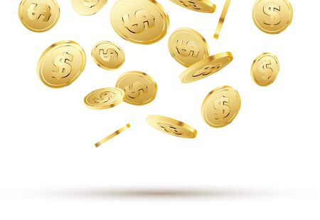 Golden coins falling on white. 3d gold money isolated coins background concept for business. Ilustração