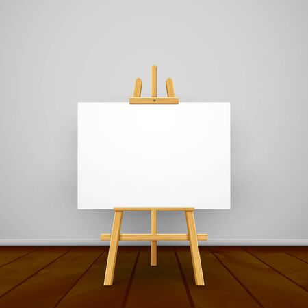 Wooden easel canvas board isolated stand in front wall. Blank empty vector easel poster billboard. Иллюстрация