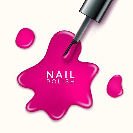 Nail polish beauty paint drop. Cosmetic bottle makeup polish nail or manicure design Illusztráció