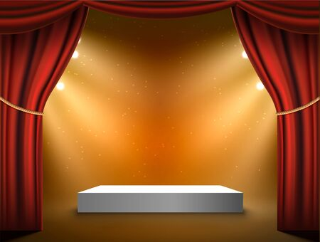 Podium vector stage background. Red curtains show light award podium with spotlight