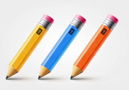 Vector short pencil, realistic pencil isolated cartoon with rubber eraser