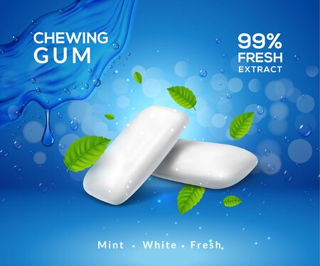Mint chewing gum vector background fresh breath smell. Chewing gum product package template.