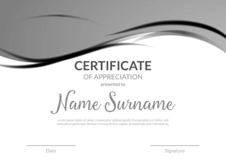Certificate award diploma template design. Certificate appreciation modern business card award design.