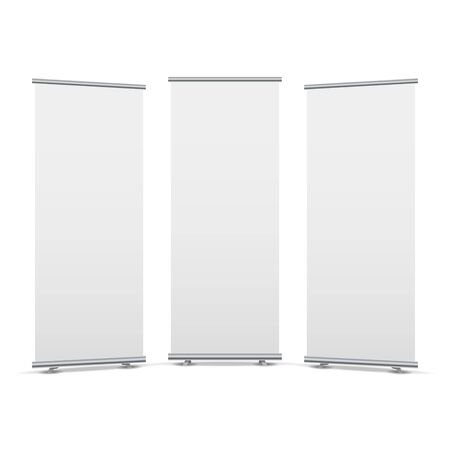 Roll up display stand screen white poster template. Blank stand roll-up banner. Ilustrace