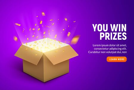 Vector prize gift box confetti explosion background. Open box winner reward