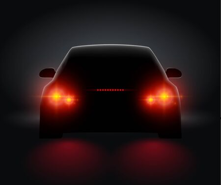 Car back view night light rear led realistic view. Car light in night dark background concept