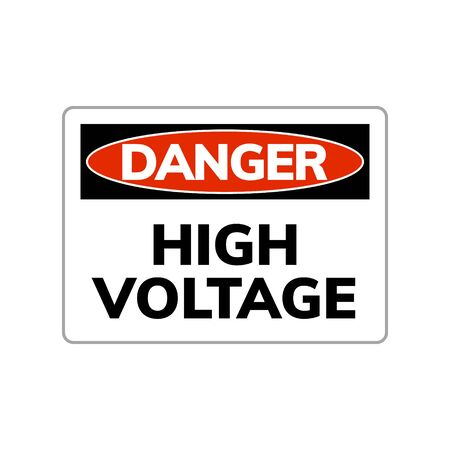 High voltage danger sign. Vector warning symbol electric power high voltage