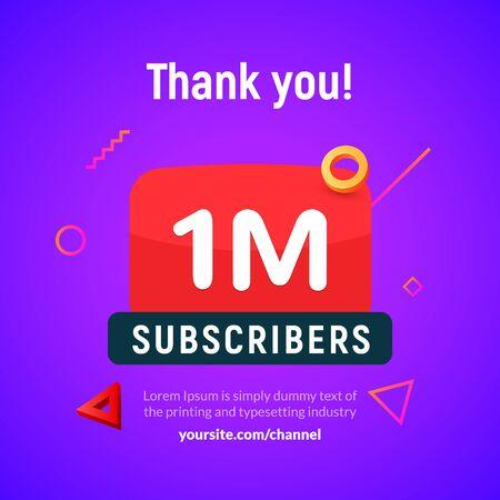 1 million followers vector post 1m celebration. One million subscribers followers thank you congratulation