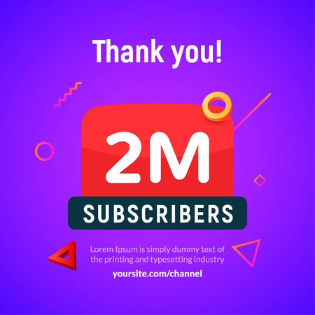 2 million followers vector post 2m celebration. Two millions subscribers followers thank you congratulation Vectores