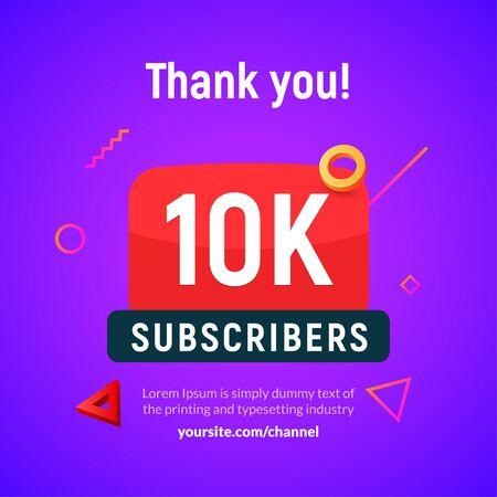 10000 followers vector post 10k celebration. Ten thousands subscribers followers thank you congratulation
