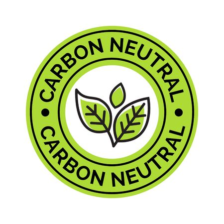 Carbon neutral icon stamp. CO2 energy monoxide carbon ecology background label concept Illustration