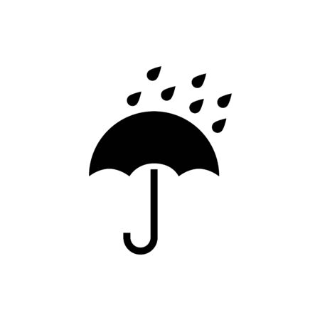 Umbrella vector icon. Rain protection umbrella water symbol. Rain safety sign drop icon isolated