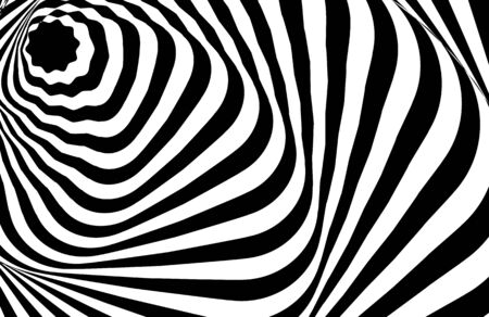 Optical illusion white black pattern abstract vector background. Optical stripe illusion design