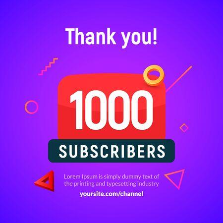1000 followers vector post 1k celebration. One thousand subscribers followers thank you congratulation.