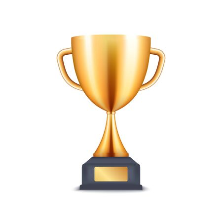 Golden trophy 3d cup. Vector prize award realistic winner icon cup