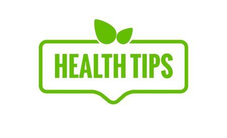 Health tips vector organic badge illustration. Healthy tips bio fresh icon.