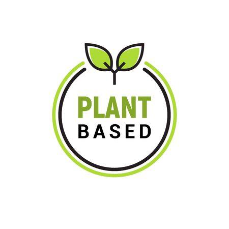 Plant based vegan badge eco icon. Suitable vegetarian symbol logo leaf plant sign.