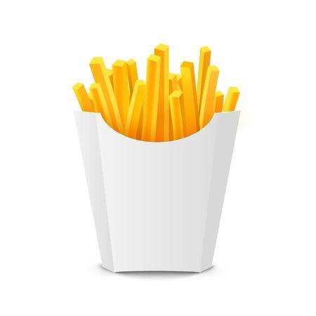 French potato pack box. Cartoon fastfood fry potato isolated illustration fast food Vector Illustratie